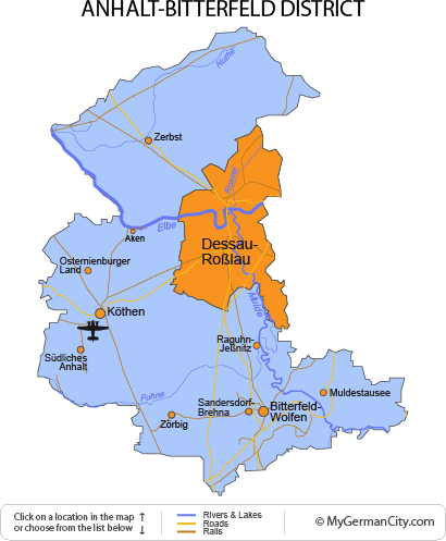 Map of the Anhalt-Bitterfeld District