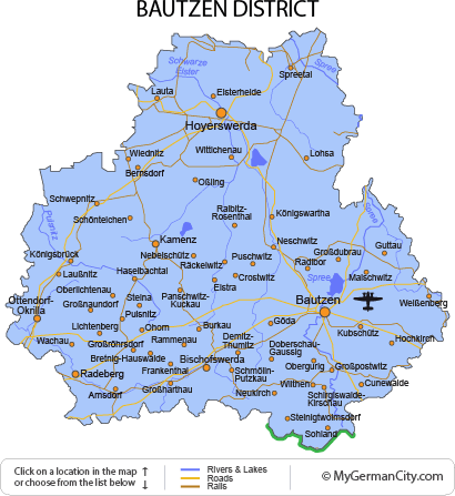 Map of the Bautzen District