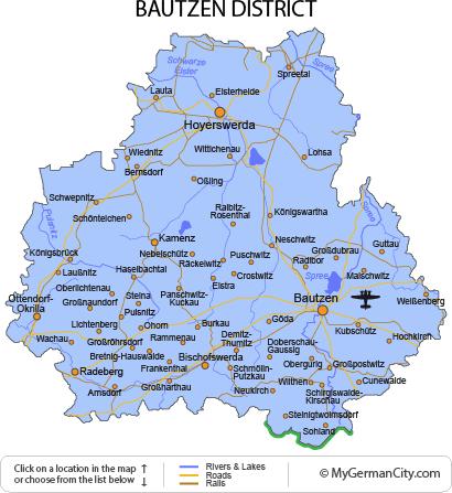Map of the Bautzen District