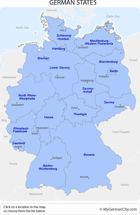 Map of all German States