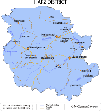 Map of the Harz District