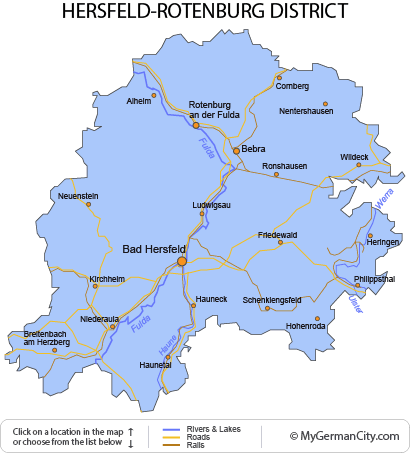Map of the Hersfeld-Rotenburg District