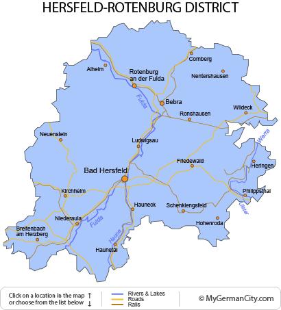 Map of the Hersfeld-Rotenburg District