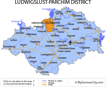 Map of the Ludwigslust-Parchim District