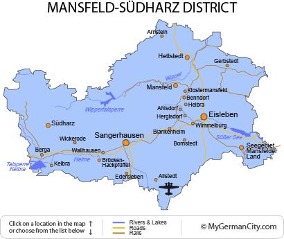 Map of the Mansfeld-Südharz District