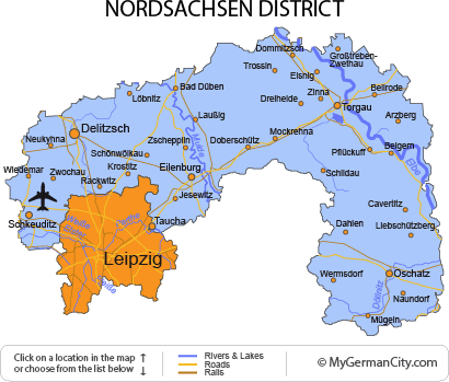 Map of the Nordsachsen District
