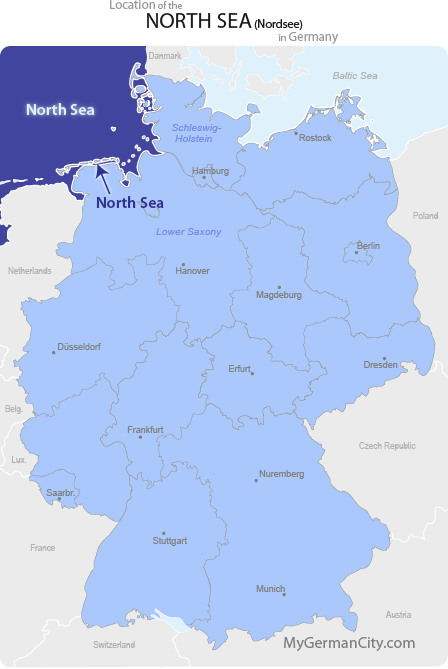 Map Of Germany North Sea.North Sea Map Nordsee Map