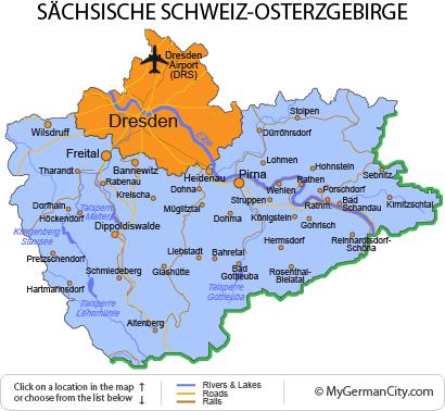 Map of the Sächsische Schweiz-Osterzgebirge