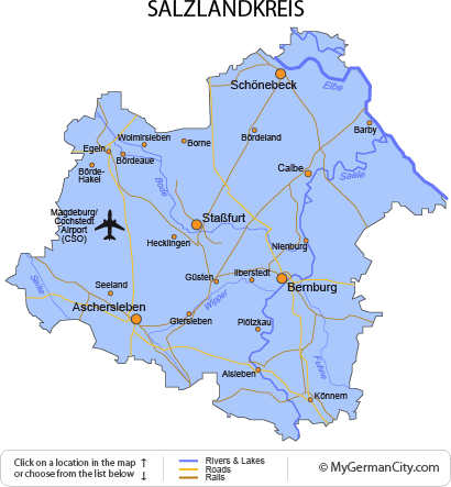 Map of the Salzlandkreis