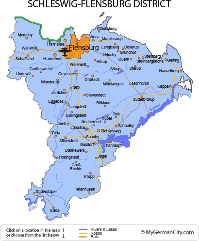 Map of the Schleswig-Flensburg District