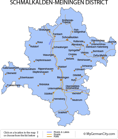 Map of the Schmalkalden-Meiningen District