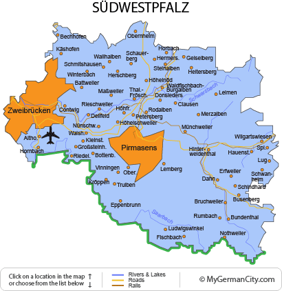 Map of the Südwestpfalz