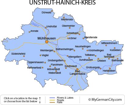 Map of the Unstrut-Hainich-Kreis