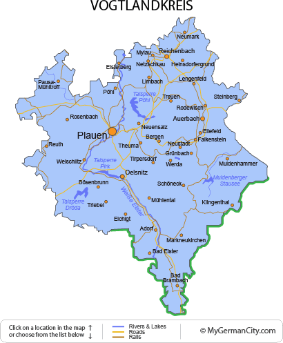 Map of the Vogtlandkreis