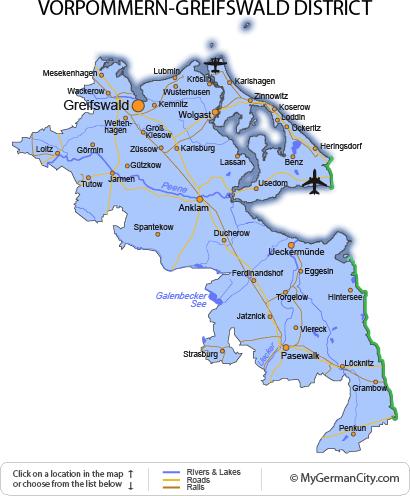 Map of the Vorpommern-Greifswald District