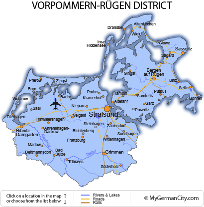 Map of the Vorpommern-Rügen District