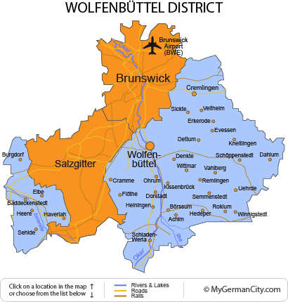 Map of the Wolfenbüttel District